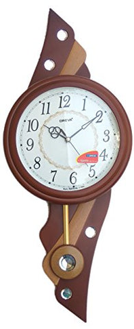 Ajanta Oreva Wooden Finish Plasitc Pendulum Clock (Brown Wood)