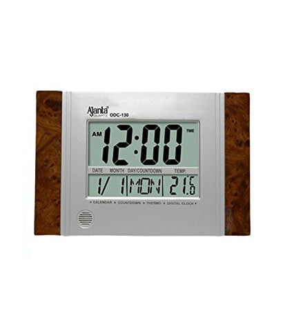 Ajanta Rectangle Glass Digital Wall Clock (29 cm x 19 cm x 2.5 cm, Brown)