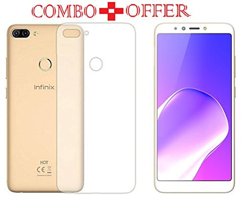 Azzil Tempered Glass & Back Cover, Premium Quality Perfect Fit [Combo Offer Transparent-5.99 inch] Soft Case Cover for Infinix Hot 6 Pro