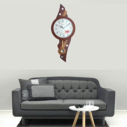 Ajanta Oreva Wooden Finish Plastic Pendulum Clock (Brown)