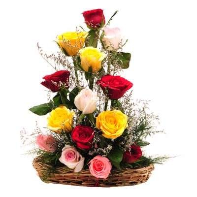 Floralbay Special Basket Arrangement of 15 Mix Roses Fresh Flowers