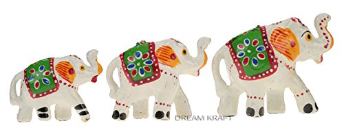 Dreamkraft Paper Mache Handcrafted Set Of 3 Elephant Showpiece Idols F The Craft Gallery