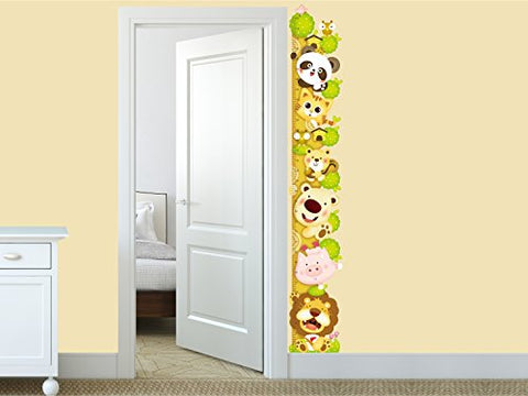 Amazon Brand - Solimo Wall Sticker for Kids' Room (Animal Height Chart, ideal size on wall ,  27 cm X 172 cm),Multicolour