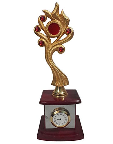AR Traders Clock Showpiece Made With Brass Gold Plated Trophy Style With Silver Plated Metal Stand & Fiber Base- 11""