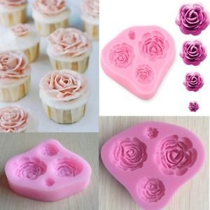 JoyGlobal Silicone Cavity Roses Flower Mould, Pink