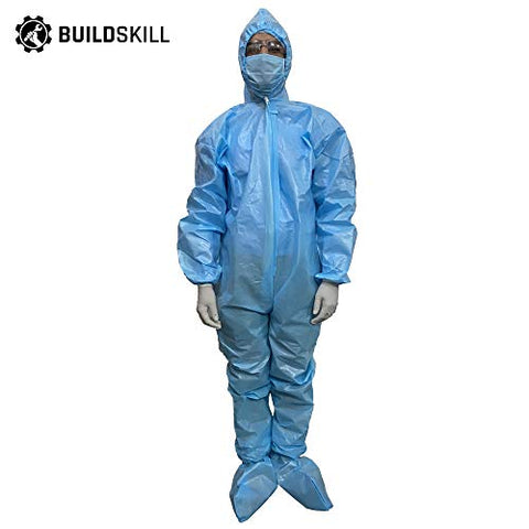 Buildskill B01PPE90 PPE Kit Medical Disposable Protective Coverall Suits for Ward/Hospital/Laboratory (Pack of 7 items)