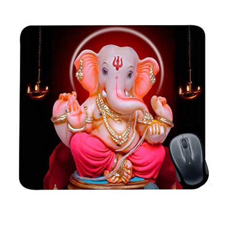 FS Diwali Gifts Item Office Printed Ganpati Bappa Mousepad for Computer, PC, Laptop, Pink