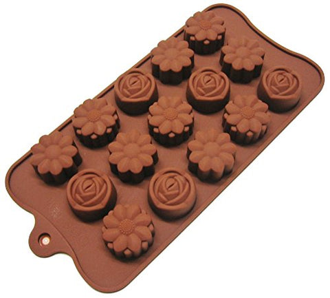 Hua You Silicone Flower Shape Chocolate Mould (Brown, 10-inch)