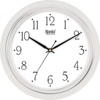 Ajanta Quartz Wall Clock with Round Dail Shape 1207 Silver For Office and Home