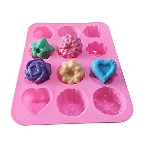DIY 12 Cavities Flowers Silicone Hand Made Soap Molds Ice Lattice Cake Candy Making Moulds Cake Pans Handmade Chocolate Mold