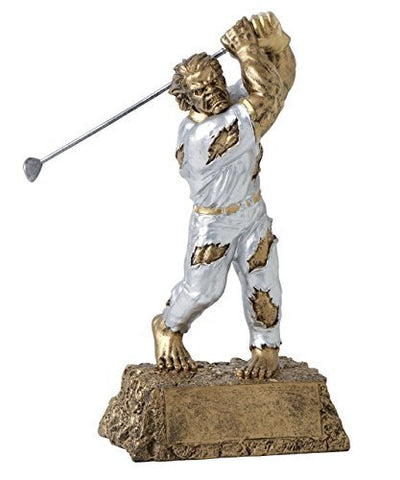 Decade Awards Monster Golf Trophy - Detailed Gold and Silver Finish - Engraved Plates by Request - Perfect Golf Award Trophy - Hand Painted Design - Made by Heavy Resin Casting - Great for Recognition