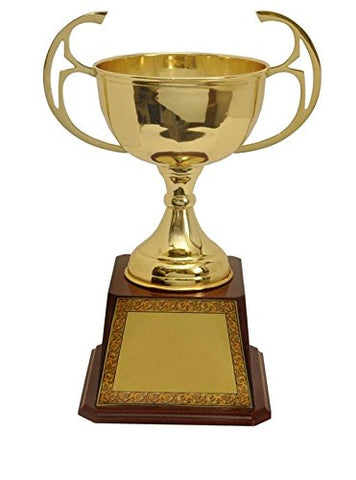 TrophyWale Wooden Trophy with PU Finish, Height: 34 CM