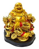 RIPE INDIA Fengshui Resin Laughing Buddha on Chair with Ingot and Coin , Standard Size, Golden