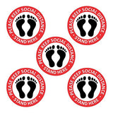 Coronavirus Safety Signs Pack of 6 Please Practice Social Distancing Sticker Floor Decal Covid 19 Coronavirus Safety 12 inch Circle Pressure Sensitive Adhesive Vinyl ( 5 signage pack + 1 pc face shield), Made in India.
