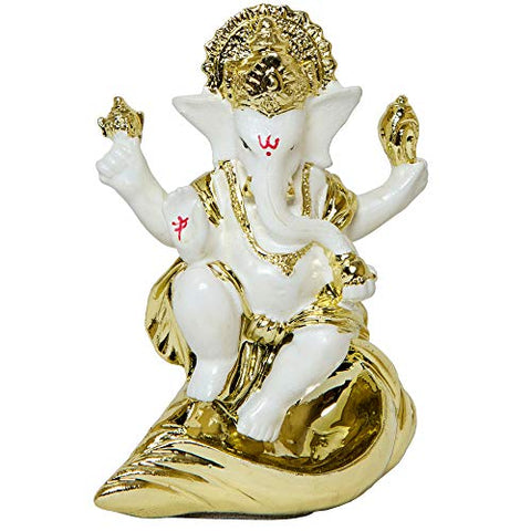 Tied Ribbons Gold Plated Ganesh Idol 7 9 Cm X 6 Cm White