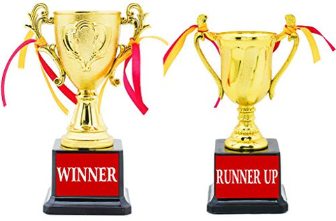 AARK INDIA Winner and Runner Up Trophy (Gold and Brown) - Set of 2