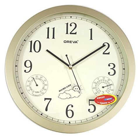 Ajanta Oreva Weather Clock -Golden (35 x 35 cm)