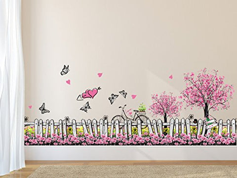 Amazon Brand - Solimo Wall Sticker for Living Room (Pink Floral Picket Fence with Butterflies, Ideal Size on Wall: 105 cm x 42 cm)