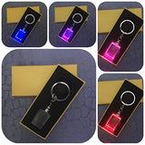 Aadya 3D Crystal Engraved Gifts - Single Image 3D Photo Personalized Laser Engraved Crystal Cube Key Chain Multi Color LED Light