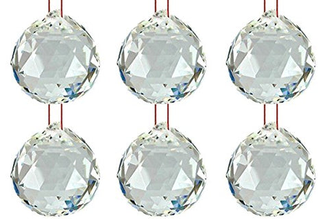 Ryme vastu/fengshui Crystal Ball 40mm for doorhanging/car (Pack of 6)