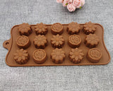 SYGA Silicone Rose & Candy Flowers Shape Chocolate Jelly Candy Mold, Cake Baking Mold, 15-Cavity Bakeware Mould, Brown