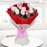 FloraIndia Fresh Flowers Bunch of 18 Red, Pink, White Roses with Seasonal Leaves in Paper Packing