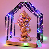 TIED RIBBONS Ganesh Idol Statue Figurine Showpiece with Temple and LED Light - Diwali Decor Item for Home - Diwali Gifts for Family and Friends Corporate Gifts for Employees