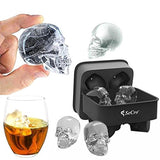 Secro 3D Skull Silicone Ice Cube Tray Mold, Makes Four Giant Skulls, Ice Cube Maker In Shapes
