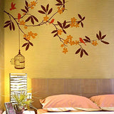 Decals Design 'Branch Flowers and Cage' Wall Sticker (PVC Vinyl, 90 cm x 60 cm)