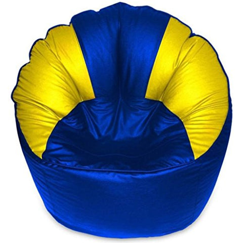 Akhilesh Bean Bags & Furniture XXXL Mudda Chair Bean Bag (Blue,Yellow) (Without Beans)