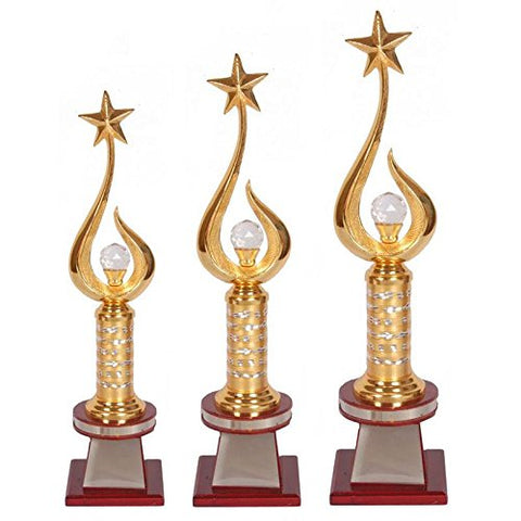 "N H Qadari Handicraft Brown Wooden Supirior Quality Trophy_2108- Set of 3 (14.50"",16"",17"")"