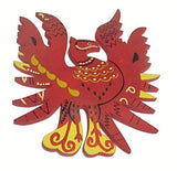 Plusvalue Feng Shui Wooden Red Phoenix Bird Wall Hanging for Fame, Reputation & Recognition (Size 9-inches)
