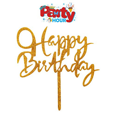 Party Hour Happy Birthday Theme Glitter Cake Topper Party Props Decoration (Gold Color) Props Propz