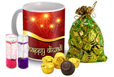 Midiron Beautiful Chocolate Gift Pack for Diwali with 2 Gel Candle and Ceramic Coffee Mug Diwali Gift for Friends & Relative