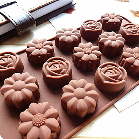 SMARTBUYER Silicone Flower Candy Mold, 15 Cavities (Brown)
