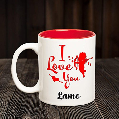 Chanakya I Love you Lamo romantic inner red coffee name mug