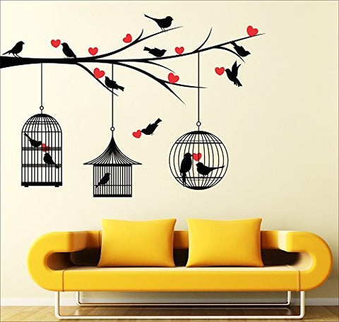 Avneesh 'Love Birds with Hearts' Wall Sticker (Wall Covering Area: 150 cm x 85 cm)
