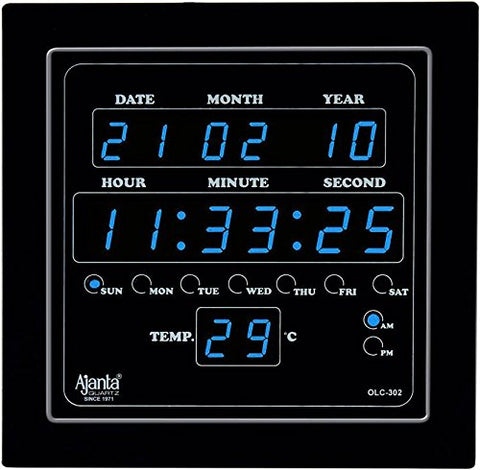 Ajanta Digital Wall Clock Blue LED,Black Body,with Glass (28.2 cm x 26.4 cm x 4.2 cm, Black)