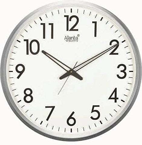 Ajanta Quartz Wall Clock with Round Dail Shape 467 White For Office and Home