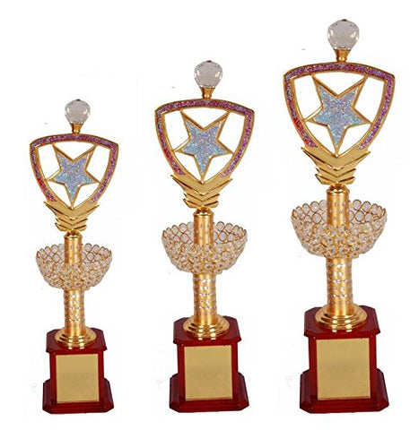 "N H Qadari Handicraft Brown Wooden Supirior Quality Trophy_2104- Set of 3 (19.5"",21.75"",24.25"")"