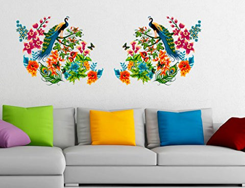 Decals Design 'Peacock Birds on Branch Leaves' Wall Sticker (PVC Vinyl, 60 cm x 90 cm)