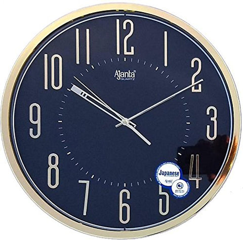 Ajanta Quartz Wall Clock with Round Dail Shape 2757 Black For Office and Home