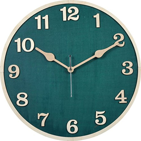 B SQUARE 1 Feet Wood Wall Clock with Patented Movement Dark Green