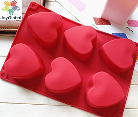 JoyGlobal Silicone 6 Hearts Soap Moulds Handmade Biscuit Chocolate DIY Mould, Beige