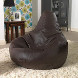 Aart Leather Recliner Bean Bag Cover with Beans XXXL - Brown