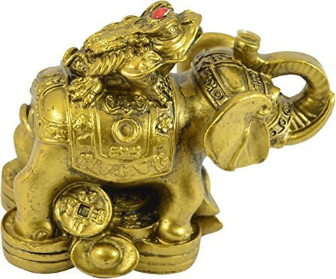 Ryme Vastu/Fengshui Frog on Elephant for Luck, Health and Wealth