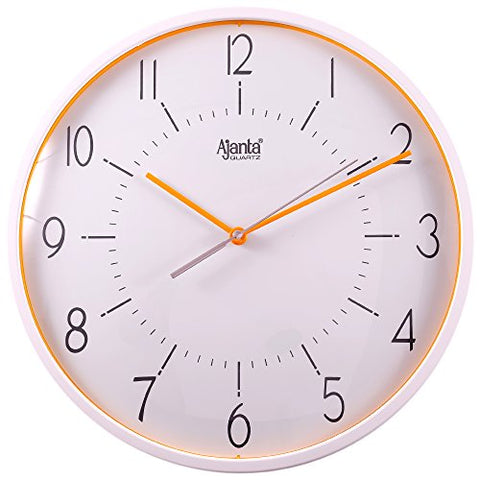 Ajanta Wall Clock For Home And Offices (30 cm x 30 cm , Silent Movement, Orange)