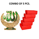 Art N Hub 5 Combo of Brass 24 K Gold Plated With Stones Allah Sign Car Dashboard Idol Handicraft Statue & Decorative Spritual Ibadat Vastu Showpiece-Muslim Religious Ibadat Gift Item & Mujasma Sazi for Masjid/Home