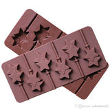 Vardhman Silicon Chocolate or Cake Mold, 6 Cavities, Star Shape with 6 Lollipop Sticks (Standard, Dark Brown)