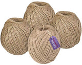 TIED RIBBONS Set of 4 Twisted Burlap Jute Rope for Art and Craft Decoration, Wrapping, Binding(Brown)